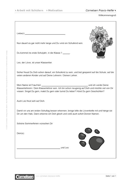 Willkommensgruß für neue Schüler - Editierbare Kopiervorlage