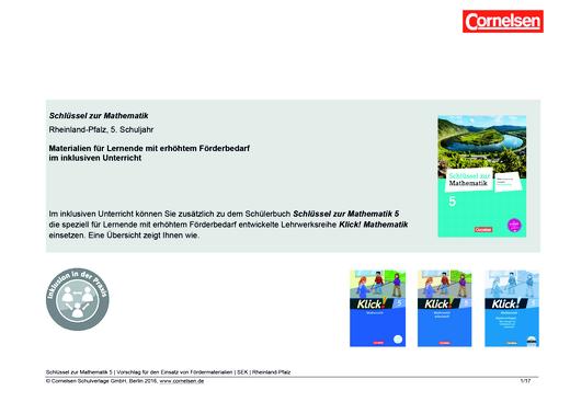 Schlüssel zur Mathematik - Materialeinsatz für einen inklusiven Unterricht Klasse 5 - Synopse - Webshop-Download