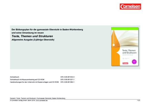 Texte, Themen und Strukturen - Planungshilfe für Baden-Württemberg