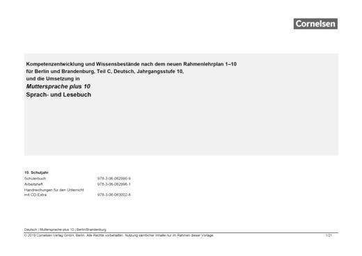 Muttersprache plus - Planungshilfe Rahmenlehrplan Berlin/Brandenburg - 10. Schuljahr