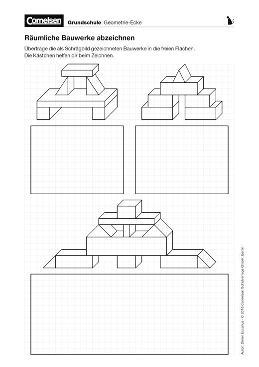 Räumliche Bauwerke abzeichnen - Arbeitsblatt