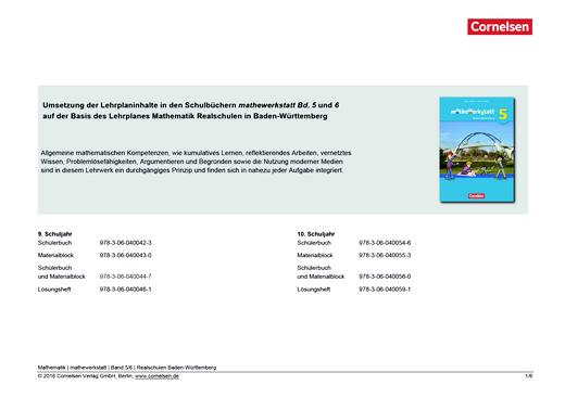 Mathewerkstatt - Synopse Mathewerkstatt Band 5/6  Realschule Baden-Württemberg - Synopse - Band 5