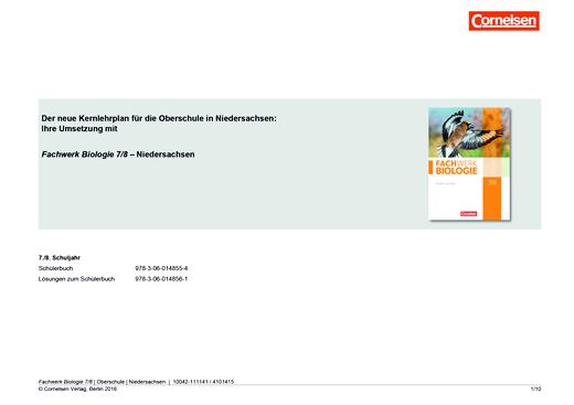 Fachwerk Biologie - Das neue Kerncurriculum für die OBERSCHULE in Niedersachsen – Umsetzung mit Fachwerk Biologie in Klasse 7/8 - Synopse - 7./8. Schuljahr