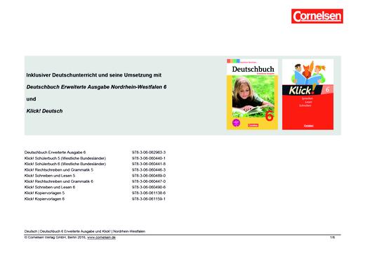 Klick! Deutsch - Inklusiver Unterricht - Synopse für Nordrhein-Westfalen - 6. Schuljahr