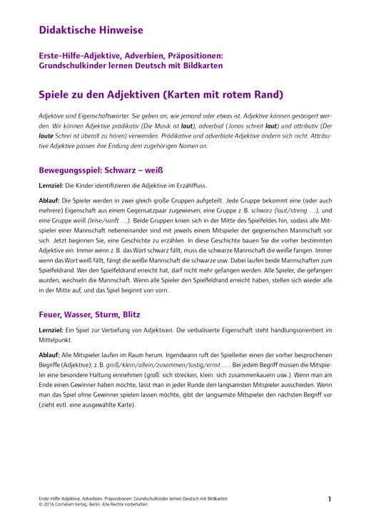 Deutsch lernen mit Fotokarten - Grundschule - Didaktische Hinweise Grundschule Erste-Hilfe-Adjektive, Adverb. - Didaktische Fachinfo