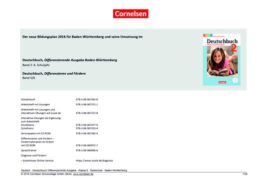 Deutschbuch - Der Einsatz von Deutschbuch Differenzierende Ausgabe Baden-Württemberg 2 und Deutschbuch Differenzieren und Fördern 5/6 - Synopse - Band 2: 6. Schuljahr