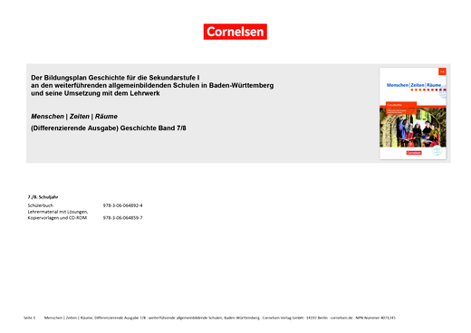 Menschen-Zeiten-Räume - Planungshilfe - Band 2: 7./8. Schuljahr