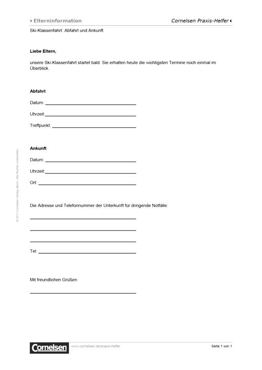 Elternbrief: An- und Abreise zur Ski-Klassenfahrt - Vorlage für den Schulalltag