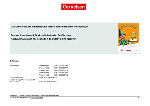 Einstern - Einstern 2 Verbrauchsmaterial – Synopse zum neuen Kerncurriculum für Niedersachsen - Synopse - Webshop-Download
