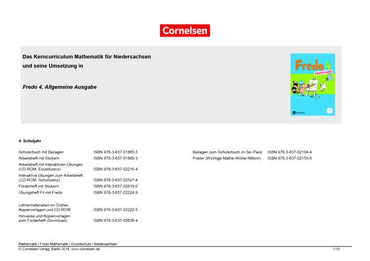 Fredo - Mathematik - Fredo 4 – Synopse zum neuen Kerncurriculum für Niedersachsen - Synopse - 4. Schuljahr