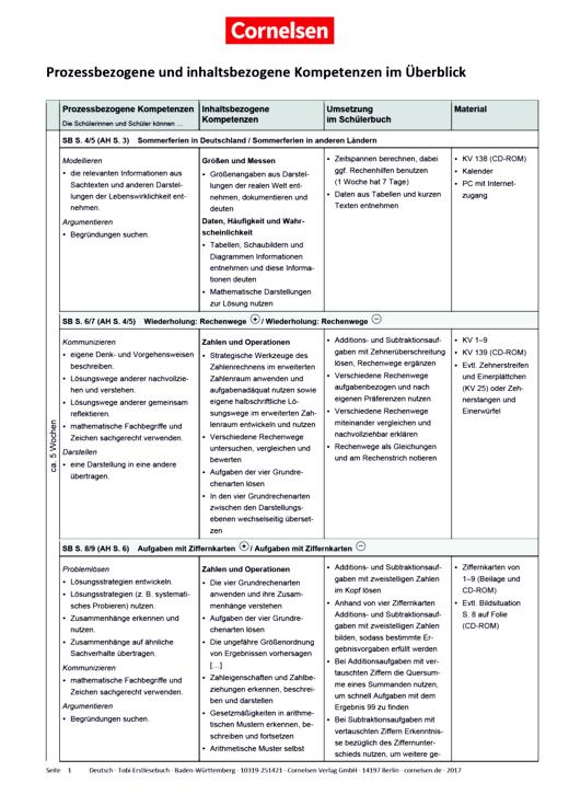 Fredo - Mathematik - Fredo 3 - Stoffverteilungsplan zum Bildungsplan Baden-Württemberg - Stoffverteilungsplan - 3. Schuljahr