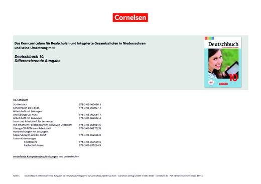 Deutschbuch - Deutschbuch Differenzierende Ausgabe 10 – Planungshilfe Realschule/Integrierte Gesamtschule Niedersachsen - Planungshilfe - 10. Schuljahr