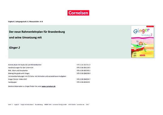 Ginger - Stoffverteilungsplan für Brandenburg - 2. Schuljahr