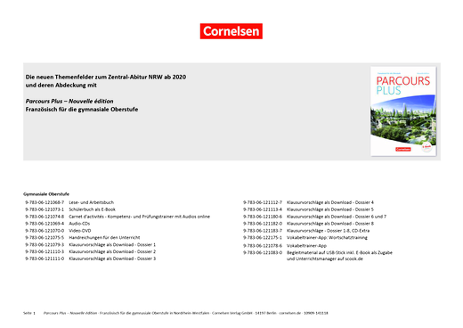 Parcours plus - Passende Materialien zum Zentralabitur NRW ab 2020 - Synopse
