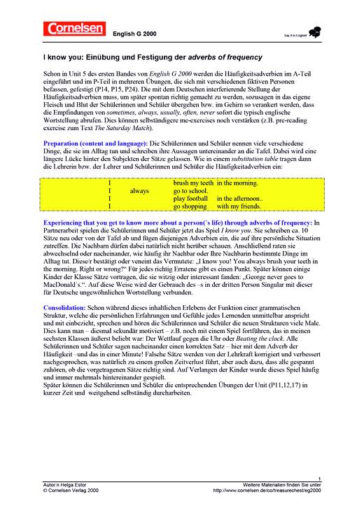 Erlebnisgrammatik: Einübung und Festigung der adverbs of frequency - Arbeitsblatt - Webshop-Download