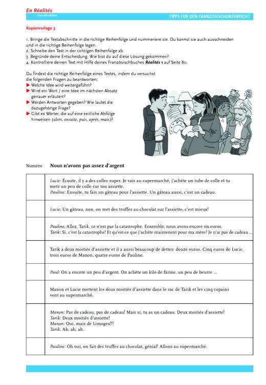 Réalités 1, Unité 6: Trouver l'ordre du texte - Arbeitsblatt - Webshop-Download