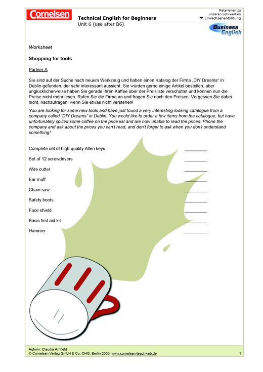 Shopping for tools - Arbeitsblatt - Webshop-Download