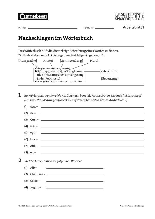 Unsere Muttersprache - Nachschlagen im Wörterbuch - Arbeitsblatt - 7. Schuljahr
