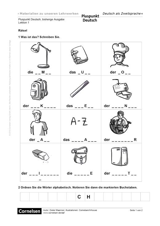 Rätsel zur Wortschatzwiederholung - Arbeitsblatt