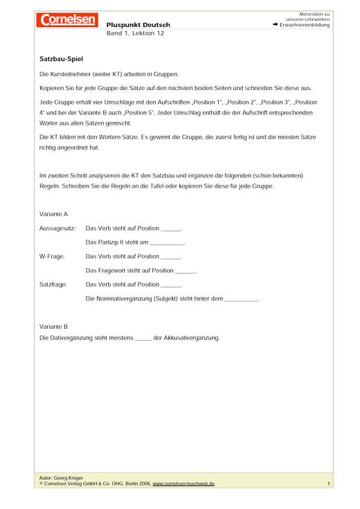 Satzbau-Spiel - Arbeitsblatt