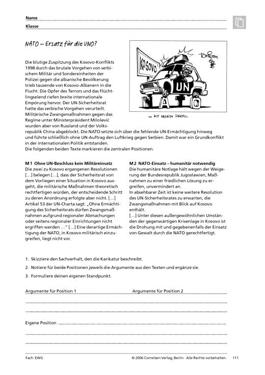 Menschen - Märkte - Räume - Menschen - Märkte - Räume 3: NATO – Ersatz für die UNO? - Arbeitsblatt - Webshop-Download