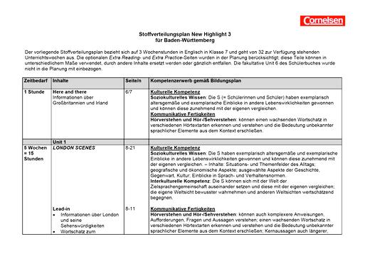 New Highlight - Stoffverteilungsplan für Baden-Württemberg - Band 3: 7. Schuljahr