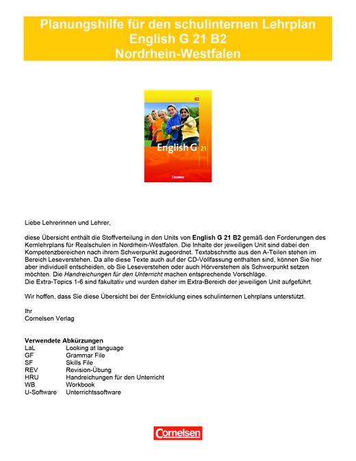 English G 21 - Planungshilfe für den schulinternen Lehrplan Nordrhein-Westfalen - Band 2: 6. Schuljahr