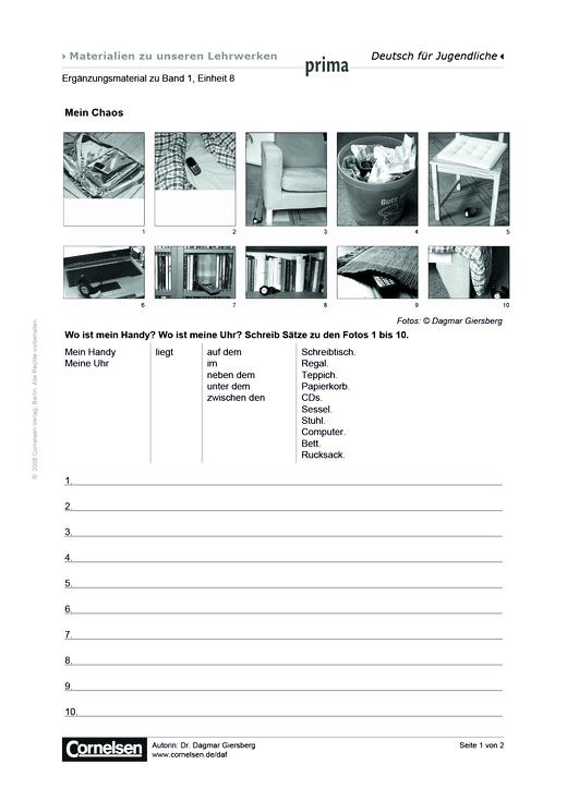 Prima - Deutsch für Jugendliche - Prima A1, Band 2, Einheit 08: Mein Chaos - Arbeitsblatt - Webshop-Download