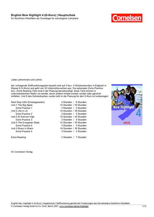 New Highlight - Stoffverteilungsplan für die Hauptschule Nordrhein-Westfalen - Band 4: 8. Schuljahr