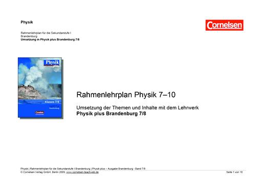 Umsetzung des Rahmenlehrplans Physik 7-10 mit dem Lehrwerk Physik plus Brandenburg 7./8. - Synopse - Webshop-Download