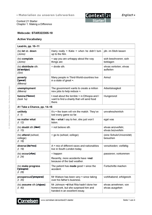 Active Vocabulary Chapter 1 - Arbeitsblatt
