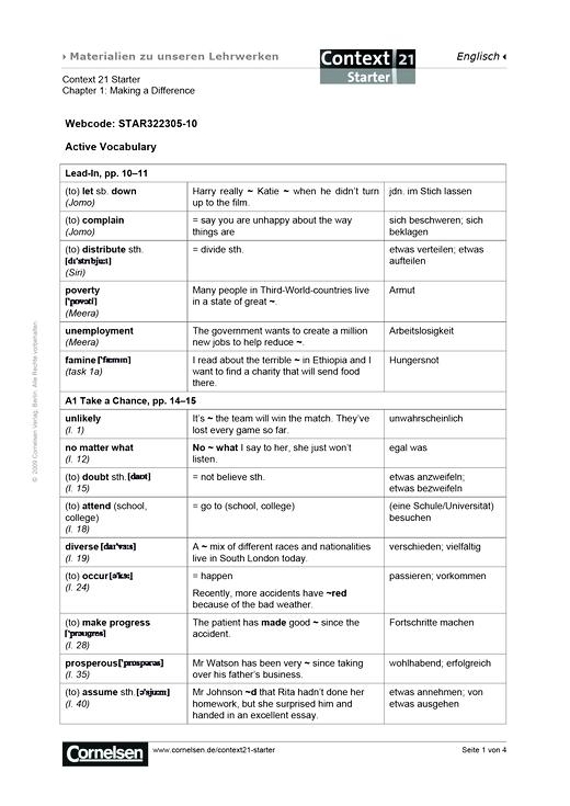 Active Vocabulary Chapter 1 - Arbeitsblatt - Webshop-Download