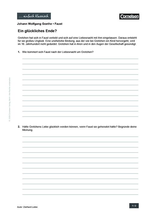 Einfach klassisch - Einfach klassisch: Faust - Ein glückliches Ende? - Arbeitsblatt - Webshop-Download