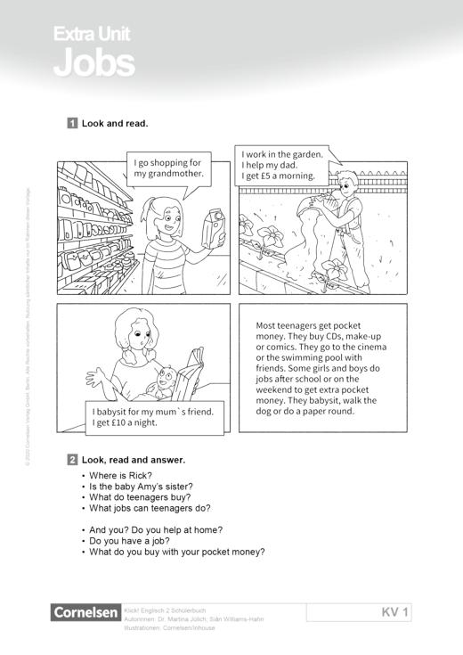 Schülerbuch: Extra Unit Jobs - Text und Aufgaben - Webshop-Download
