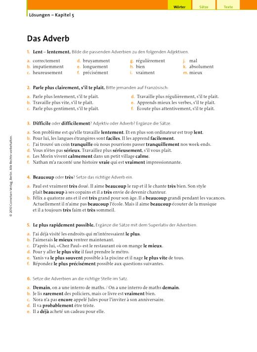 Lösungen – Kapitel 5, Das Adverb - Lösungen