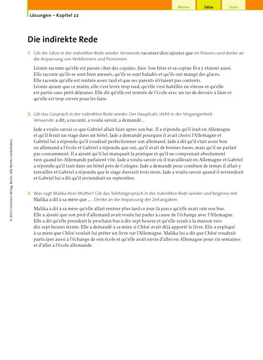 Lösungen – Kapitel 22, Die indirekte Rede - Lösungen - Webshop-Download