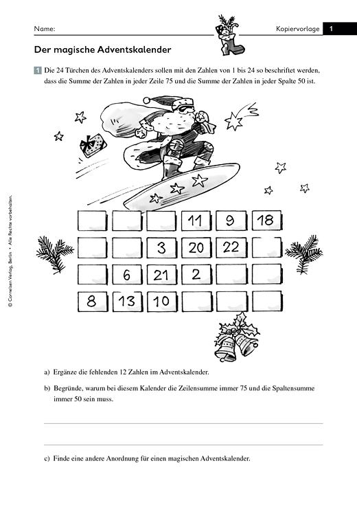 Mathematik plus - Grundschule - Knobelei: Der magische Adventskalender - Arbeitsblatt - 3./4. Schuljahr
