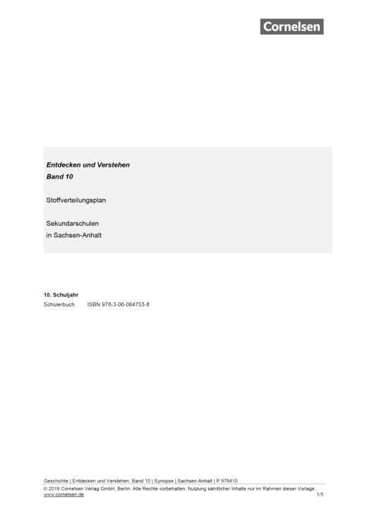 Entdecken und verstehen - Stoffverteilungsplan - 10. Schuljahr