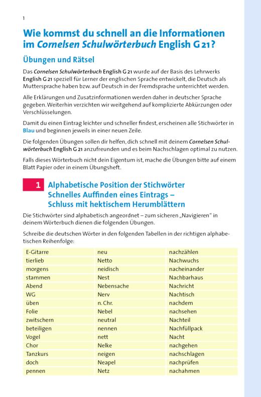 Cornelsen Schulwörterbuch - Kopiervorlagen zum Cornelsen Schulwörterbuch English G 21 - Arbeitsblatt