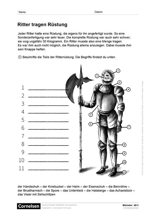 """Sachunterricht plus - Grundschule - """"Ritter tragen Rüstung"""" - Arbeitsblatt"""