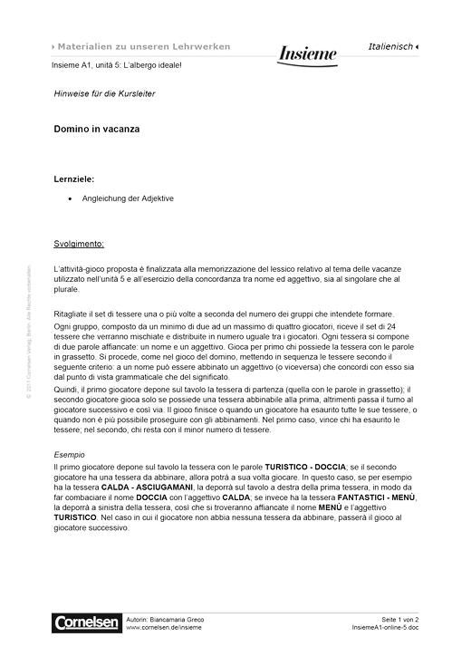 Domino in vacanza - Arbeitsblatt - Webshop-Download