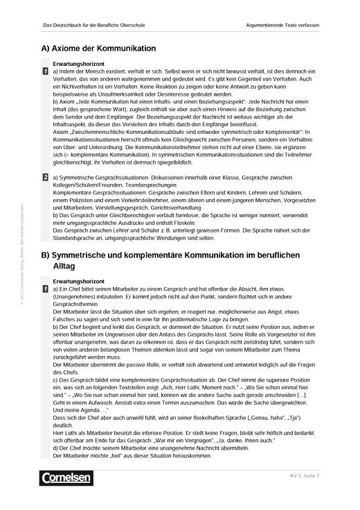 Lösungen KV Kapitel 1 - Lösungen - Webshop-Download | Cornelsen