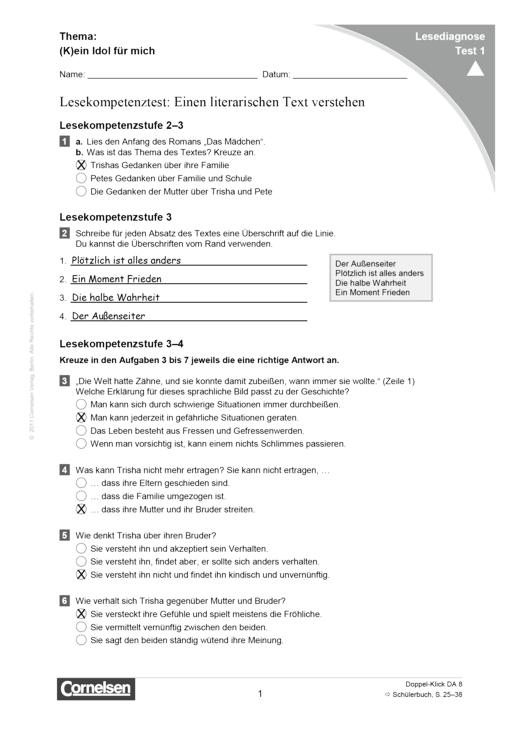 Lesediagnose Test 1 schwer - Diagnosebogen - Webshop-Download