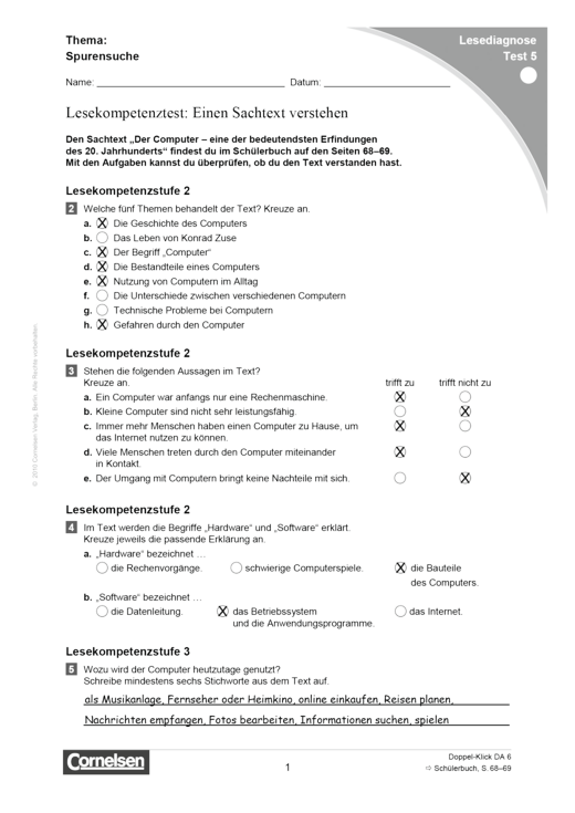 Doppel-Klick - Lesediagnose Test 5 leicht - Diagnosebogen - 6. Schuljahr