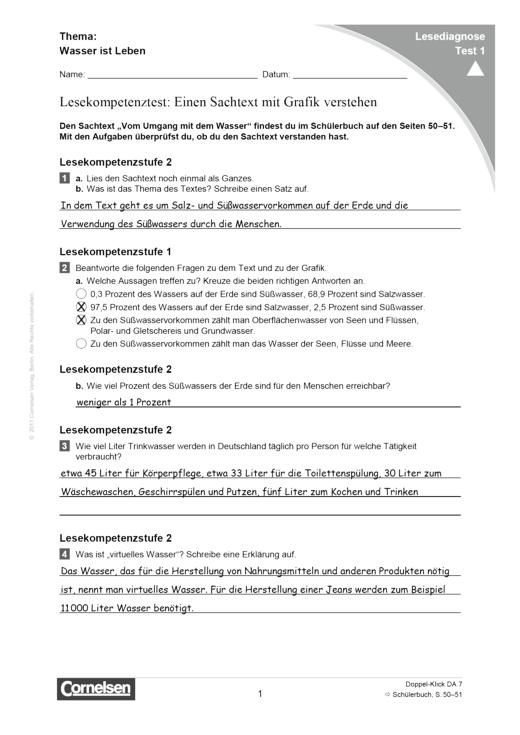 Doppel-Klick - Lesediagnose Test 1 schwer - Diagnosebogen - 7. Schuljahr