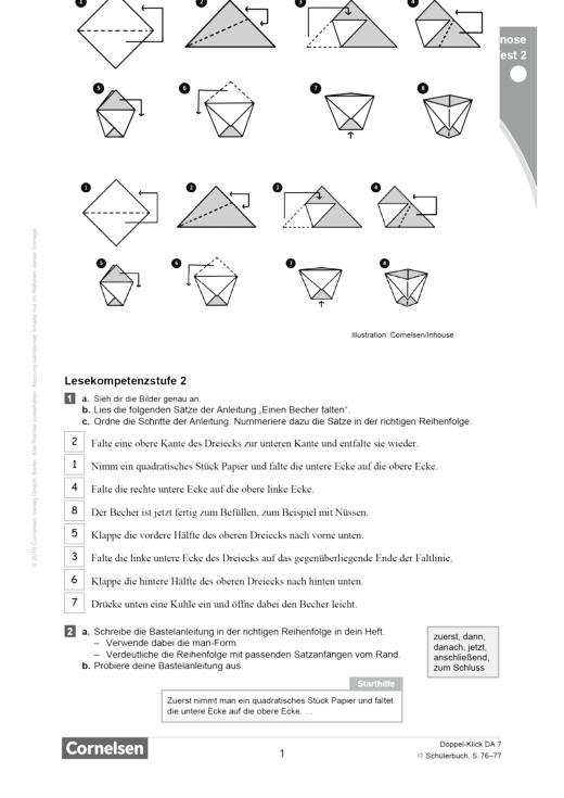 Doppel-Klick - Lesediagnose Test 2 leicht - Diagnosebogen - 7. Schuljahr