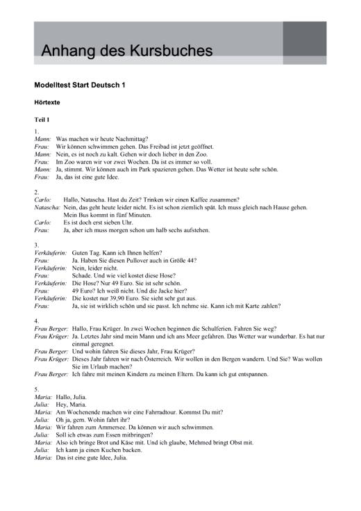 Ja genau! Modelltest A 1: Hörtexte und Lösungen - Lösungen - Webshop-Download
