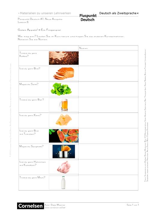 Pluspunkt Deutsch - Guten Appetit! Ein Fragespiel - Arbeitsblatt