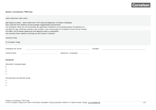 Arbeitsplan für Tinto 1/2 blau Neubearbeitung - Planungshilfe