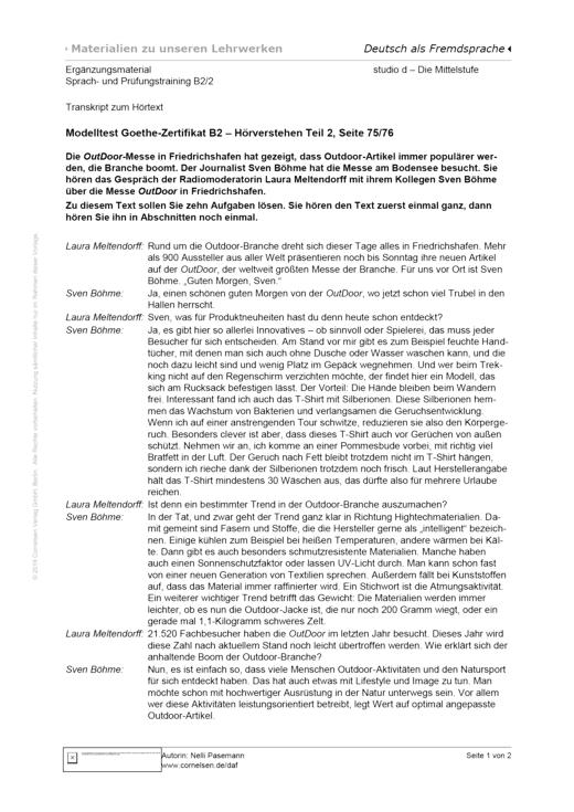 Studio: Die Mittelstufe - Sprach- und Prüfungstraining B2, Transkript S. 75–76 - Hörtext - B2: Band 2
